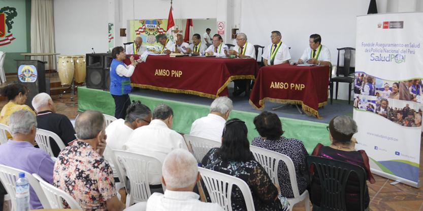 SALUDPOL OFRECIÓ CHARLA INFORMATIVA SOBRE COBERTURAS DE SALUD A MIEMBROS DE LA AMSO PNP
